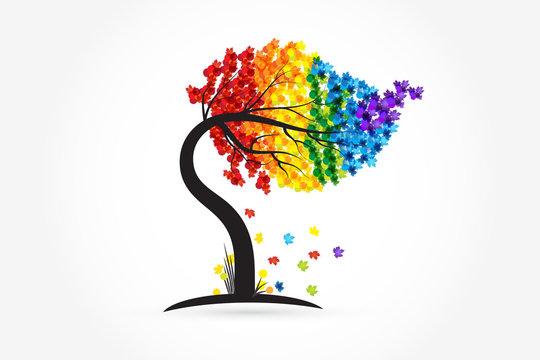 Tree rainbow identity card logo vector