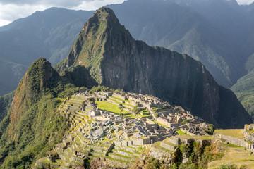 Wall Murals South America Country Machu Picchu inca ruins and Huyna Picchu mountain