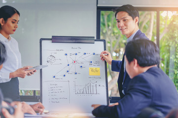 Businessman making a presentation in office. Presentation explaining business plan to colleagues during meeting.