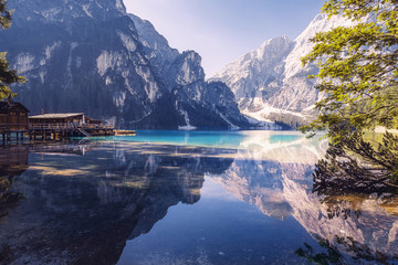 Fotobehang Alpen Summer morning at Lago di Braies, Italy