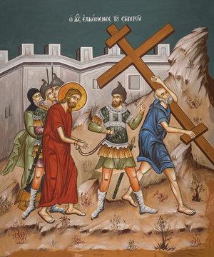 Simon of Cyrene carries cross
