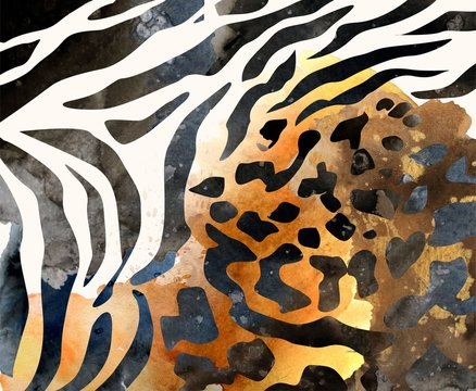 africa background, animal seamless print, watercolor texture