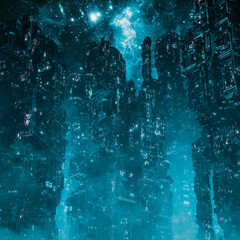 Cyberpunk metropolis night / 3D illustration of dark futuristic science fiction city under night sky