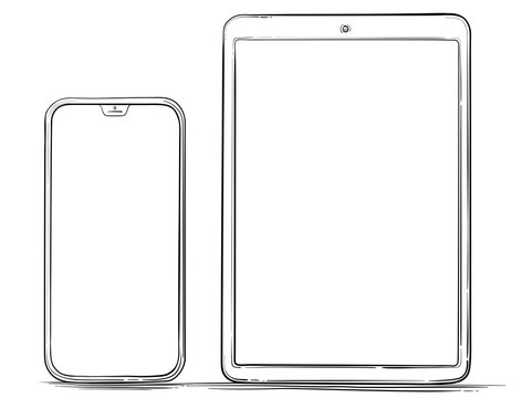 Hand Drawn Mobile Phone and Tablet PC Vector Illustration