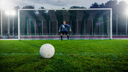 Shot of a Football Ball on a Grass during Penalty on Championship. In the Background Professional Goalkeeper Stands in Goals Ready to Defend.