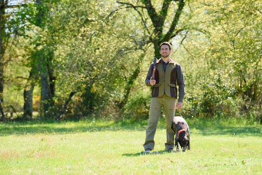 portrait of hunting dog training
