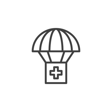 Air Drop With Parachute line icon. linear style sign for mobile concept and web design. Medical Relief Supplies outline vector icon. Symbol, logo illustration. Vector graphics