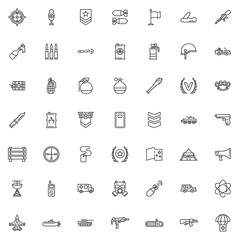 Military theme line icons set. linear style symbols collection outline signs pack. vector graphics. Set includes icons as Sniper Aim, Gun shooting target, Officer rank, Bomb, Hand grenade, Machine gun