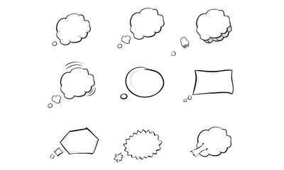 Collection of hand drawn think and talk speech bubbles. Comic style vector