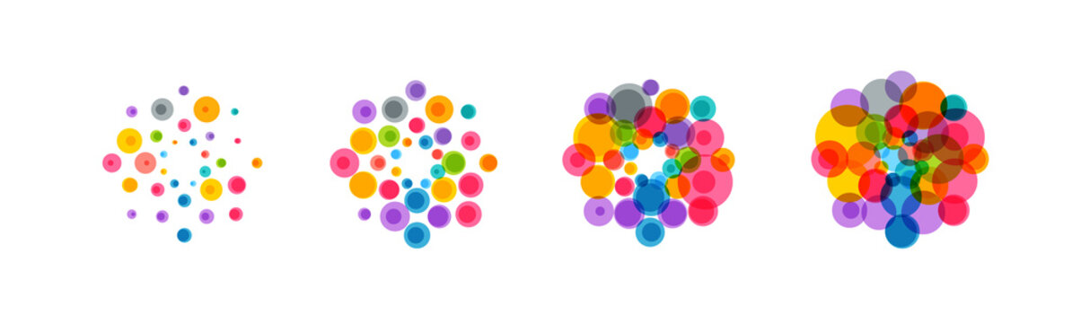 Abstract virus icon set. Colorful bacteria, microbes, fungi. Pathogenic viruses multiply. Virus cell division. Flat vector Illustration on white background.