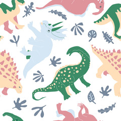 Cute herbivorous dinosaur seamless pattern. Dino flat handdrawn clipart. Prehistoric animals. Cartoon illustration for textile, wrapping, wallpapers for kids