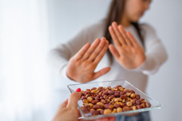 Peanut food allergy concept. Great concept of allergy and skin diseases. Nut allergies. No peanuts.