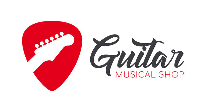 Vector red logo guitar pick icon with silhouette guitar. Isolated on white background.