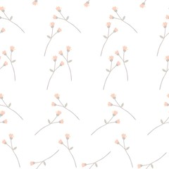 Seamless elegant ditsy pattern with little branches with orange buds on white background.