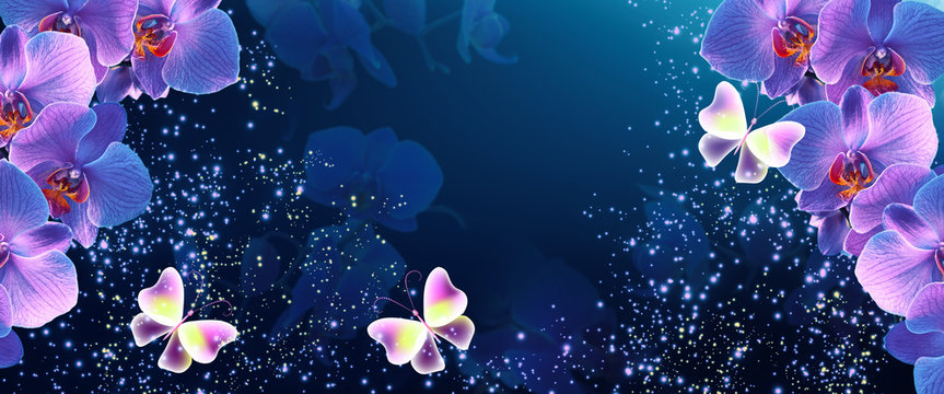 Glowing fantasy banner with magic butterflies with mysterious neon orchids and sparkle stars for flowers storefront design or florist shop decor