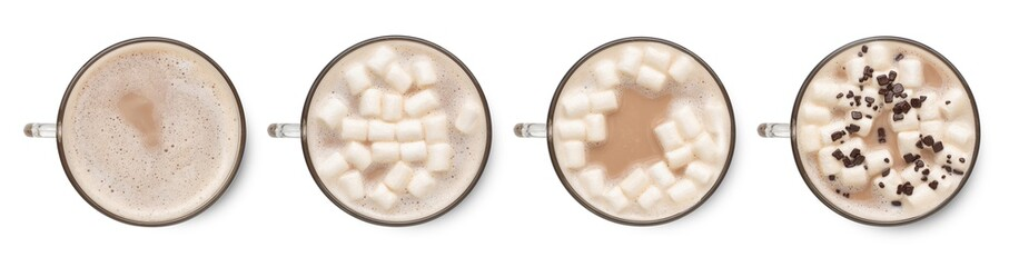 Foto auf Acrylglas Schokolade Set of hot cocoa in cup with marshmallows isolated on white background. Top view