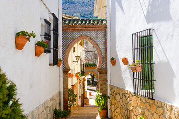 Typical street of Alfarnate, Andalusia, Spain
