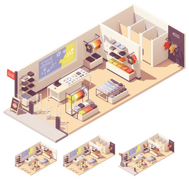 Vector isometric clothing store interior