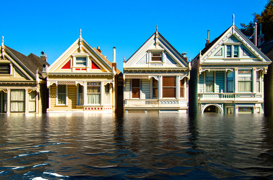 Digital manipulation of flooded row of wooden buildings. Climate change concept - Image