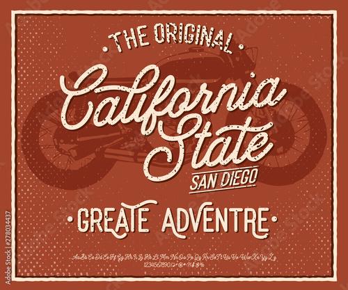 California  Vintage brush script  Handmade font  Retro