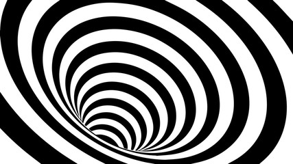 Tunnel or wormhole. Movement lines illusion. Abstract wave whith black and white curve lines. Vector optical illusion.