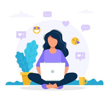 Woman sitting with a laptop, social media icons. Vector concept illustration in flat style