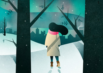 Illustration of woman walking on snowy landscape