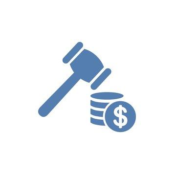Legal Fines. Flat design, white background.