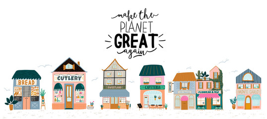 Collection of cute house, shop, store, cafe and restaurant isolated on white background. Flat vector illustration in trendy scandinavian style. European city