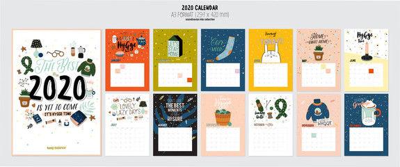 Cute 2020 Calendar. Yearly Planner Calendar with all Months. Good Organizer and Schedule. Bright colorful Hygge illustration with motivational quotes. Vector background