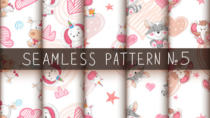 Set cute teddy animals - seamless pattern