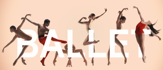 Young graceful ballet dancers with lettering. Woman's and man's beautiful dance in red clothes. Grace, artist, contemporary, movement concept. Creative collage. made of different photos of 5 models.