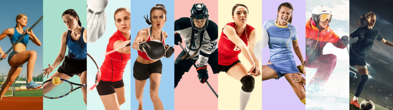 Creative collage made of photos of 9 models. Tennis, pole vault, badminton, hockey, volleyball, football, soccer, snowboarding female players or team. Sport, action, healthy lifestyle concept.