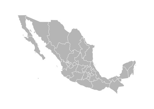 Vector isolated illustration of simplified administrative map of Mexico (United Mexican States). Borders of the provinces (regions). Grey silhouettes. White outline