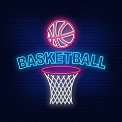 Neon lights basketball game. The bright advertisement of the game of Modern basketball logo vector, banner, logo, poster, picture of basketball. Night neon sign. Light the inscription. Vector illustra