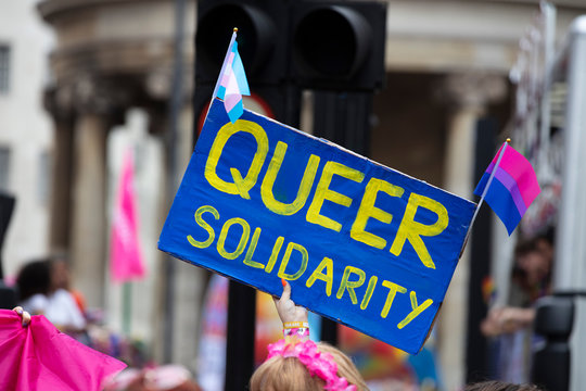 A person holding a queer solidarity banner at a gay pride event