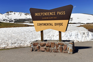 Independence Pass, a high altitude paved road in the Colorado Mountains often covered with snow