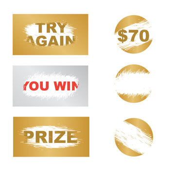 Letters scratch and win. Scratch marks. Scratch card game and win. Lottery scratch and win game card background.