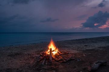 Bonfire on the beach   Views around the small Caribbean island of Curacao
