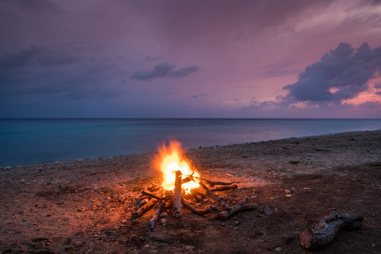 Bonfire on the beach   Views around the small Caribbean island of Curacao