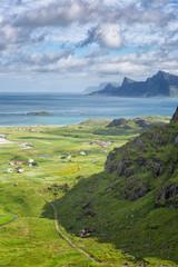 View down to the Sandbotnen bay near Yttersand, Lofoten Islands, Norway