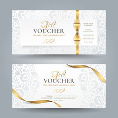 Obraz Set of stylish white gift vouchers with golden ribbons, bow and silver vintage floral pattern. Vector elegant template for gift cards, coupons and certificates isolated from background. - fototapety do salonu