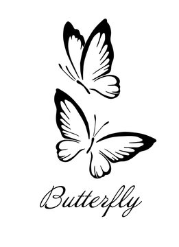 A butterfly logo made of patterns. Vector illustration