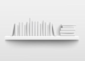 White book shelf mockup on the wall, 3d realistic design of minimalist bookshelf with blank hard cover books