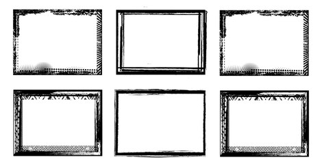 Vector Frames. rectangles for image. distress texture . Grunge Black and White borders isolated on the transparent background . Dirt effect