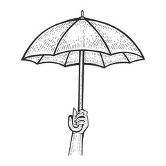 Umbrella in hand sketch engraving vector illustration. Scratch board style imitation. Black and white hand drawn image.