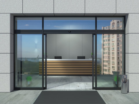 Automatic sliding open doors office