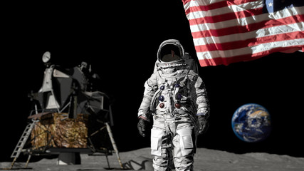 3D rendering. Astronaut saluting the American flag. CG Animation. Elements of this image furnished by NASA.