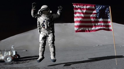 3D rendering. Astronaut jumping on the moon and saluting the American flag. CG Animation. Elements of this image furnished by NASA. Fototapete