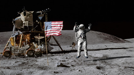 Foto auf AluDibond Nasa 3D rendering. Astronaut jumping on the moon and saluting the American flag. CG Animation. Elements of this image furnished by NASA.